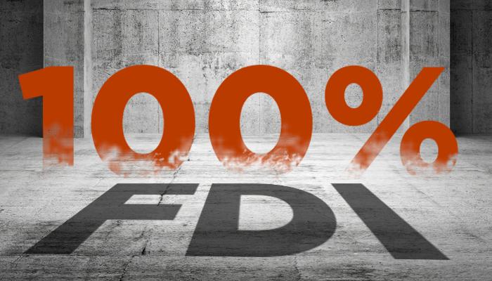 Govt. okays 100 per cent FDI under automatic route for SBRT